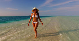 v07850 Maldives white sandy beach 1 person young beautiful lady sunbathing alone Live Action