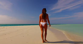 v07896 Maldives white sandy beach 1 person young beautiful lady sunbathing alone Live Action