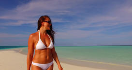 v07904 Maldives white sandy beach 1 person young beautiful lady sunbathing alone Live Action