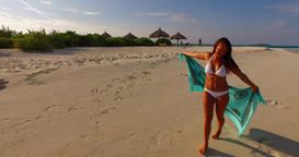 v07941 Maldives white sandy beach 1 person young beautiful lady sunbathing alone Live Action