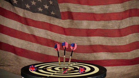 Darts And American Flag Footage