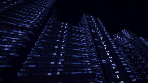 Night Urban high-rise buildings with lights in windows Animation