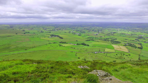 panoramic view from Slemish Mountain, County Antrim, Northern Ireland, UK Footage