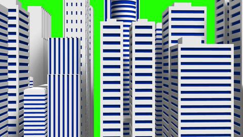 City On Green Chroma Key Animation