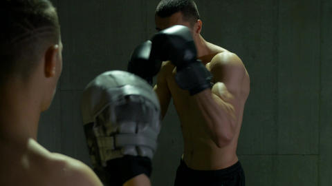 Two boxers sparring and fighting at the gym Footage