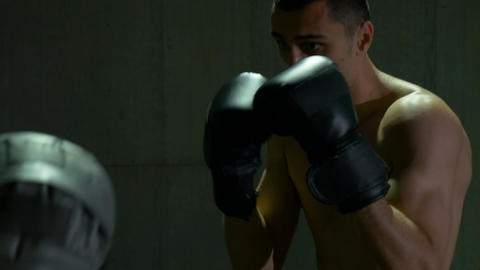 Male boxer punching gloves of his trainer Footage