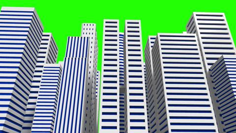 City On Green Chroma Key CG動画