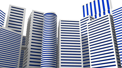 City On White Background CG動画