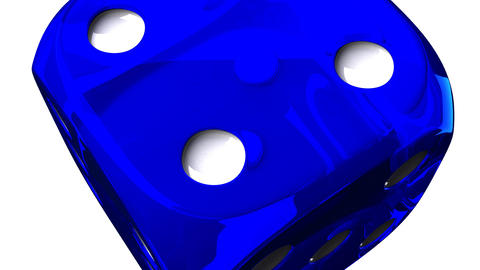 Blue Dice On White Background Animation