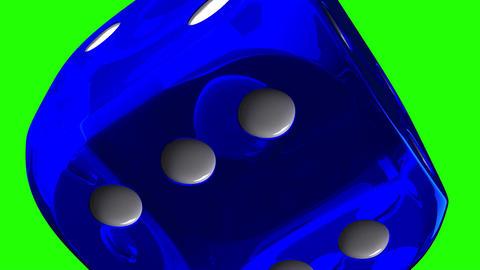 Blue Dice On Green Chroma Key Stock Video Footage