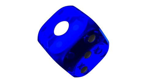 Blue Dice On White Background Stock Video Footage