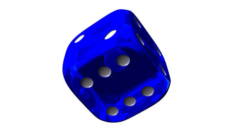 Blue Dice On White Background, Stock Animation