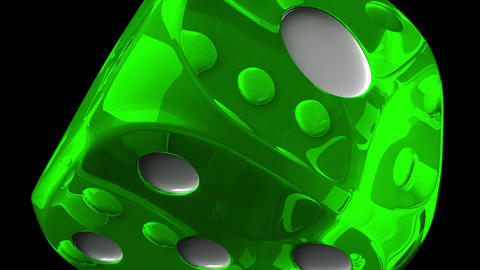 Green Dice On Black Background Animation