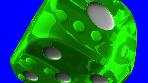 Green Dice On Blue Chroma Key Stock Video Footage