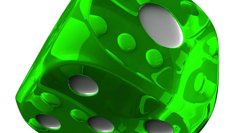 Green Dice On White Background Animation