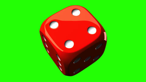 Red Dice On Green Chroma Key, Stock Animation
