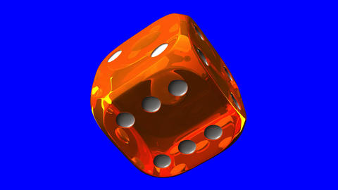 Orange Dice On Blue Chroma Key Stock Video Footage