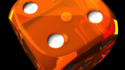 Orange Dice On Black Background Animation