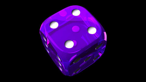 Purple Dice On Black Background Animation