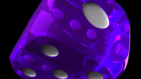 Purple Dice On Black Background, Stock Animation