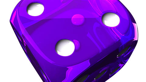 Purple Dice On White Background Stock Video Footage
