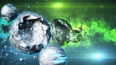 3D Space Sci-Fi Metal Planets Green Blue Environmnet Scene Background Animation