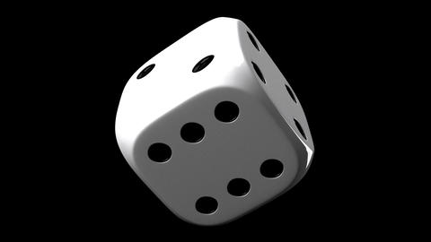 White Dice On Black Background, Stock Animation