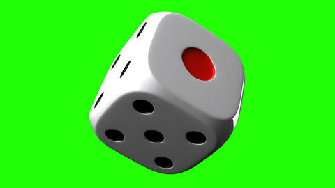 White Dice On Green Chroma Key, Stock Animation
