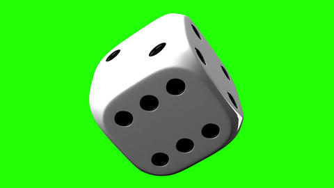 White Dice On Green Chroma Key Stock Video Footage
