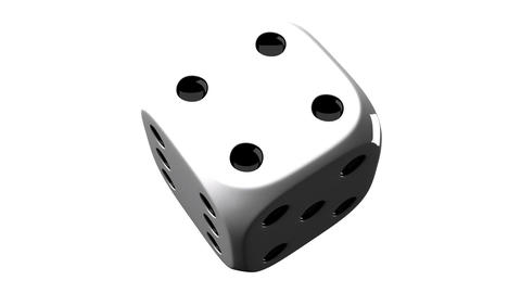 White Dice On White Background Animation