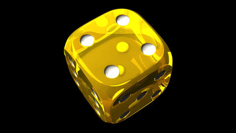Yellow Dice On Black Background Animation