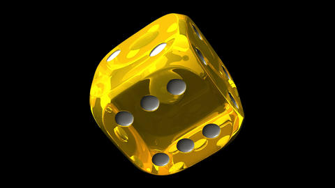 Yellow Dice On Black Background Stock Video Footage