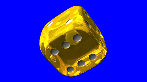 Yellow Dice On Blue Chroma Key Stock Video Footage