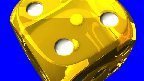 Yellow Dice On Blue Chroma Key Stock Video Footage