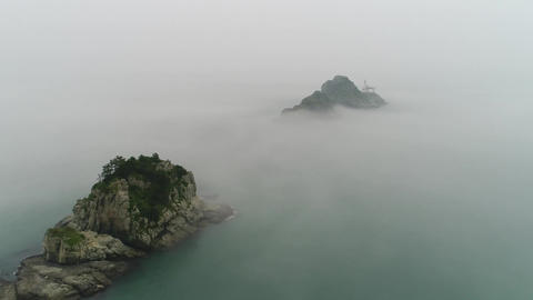 Oryukdo islands in dense fog dolly in Footage