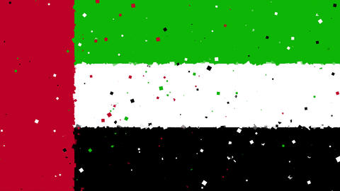 celebratory animated background of flag of United Arab Emirates appear from fire Animation