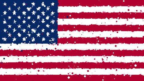 celebratory animated background of flag of United States of America appear from Animation