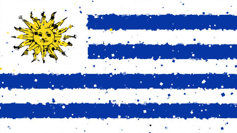 celebratory animated background of flag of Uruguay appear from fireworks Animation