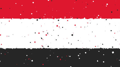celebratory animated background of flag of Yemen appear from fireworks Animation