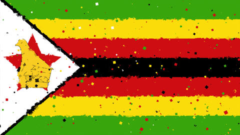 celebratory animated background of flag of Zimbabwe appear from fireworks Animation