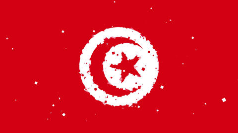 celebratory animated background of flag of Tunisia appear from fireworks Animation