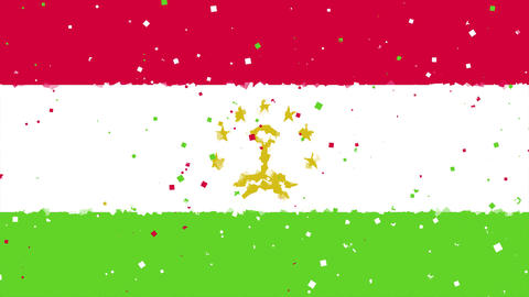 celebratory animated background of flag of Tajikistan appear from fireworks Animation