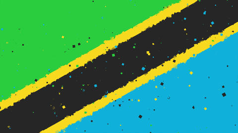 celebratory animated background of flag of Tanzania appear from fireworks Animation