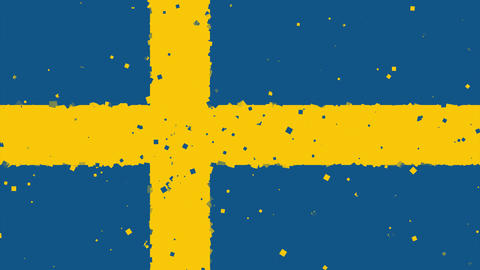 celebratory animated background of flag of Sweden appear from fireworks Animation