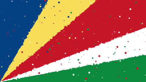 celebratory animated background of flag of Seychelles appear from fireworks Animation
