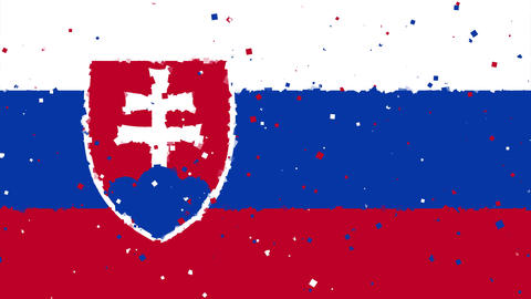 celebratory animated background of flag of Slovakia appear from fireworks Animation