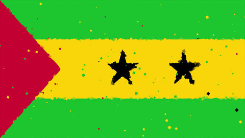 celebratory animated background of flag of Sao Tome and Principe appear from fir Animation