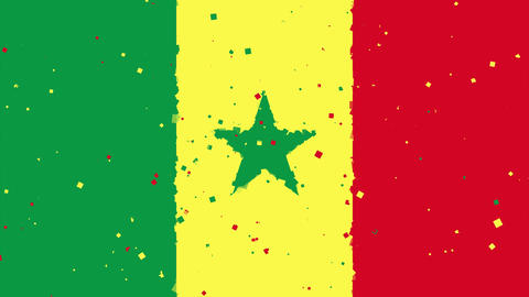 celebratory animated background of flag of Senegal appear from fireworks Animation