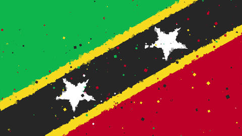 celebratory animated background of flag of Saint Kitts and Nevis appear from fir Animation
