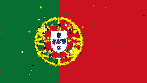 celebratory animated background of flag of Portugal appear from fireworks Animation